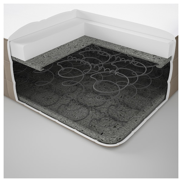 HAMARVIK Colchón de muelles, extra firme/beige oscuro, 140x200 cm