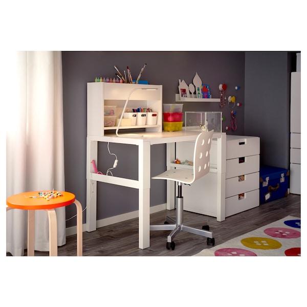 HÅRTE Lámpara trabajo, blanco/gris plata