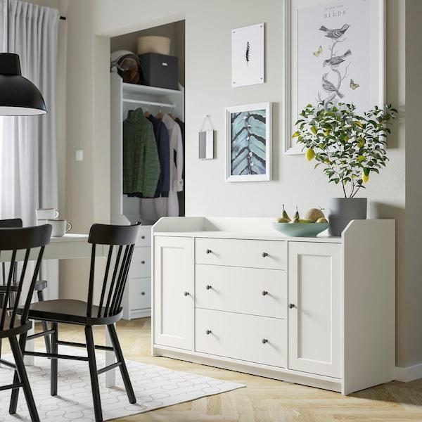 HAUGA Aparador, blanco, 140x84 cm