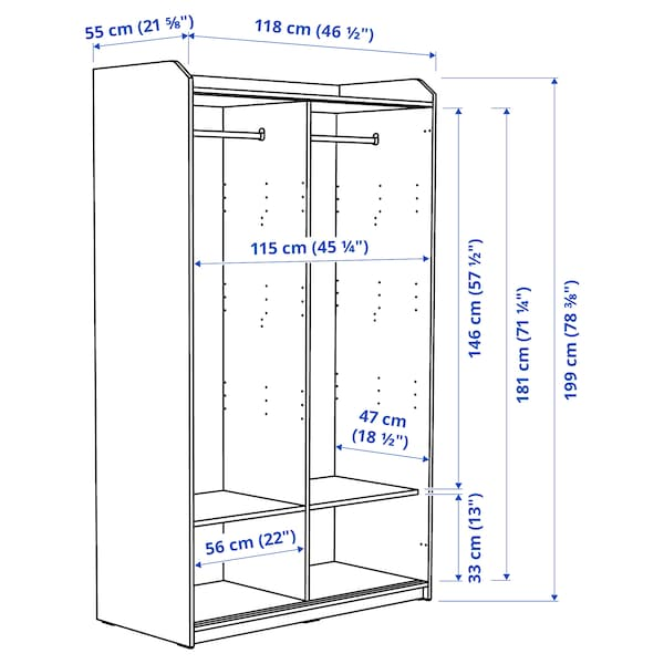 HAUGA Armario con puertas correderas, blanco, 118x55x199 cm