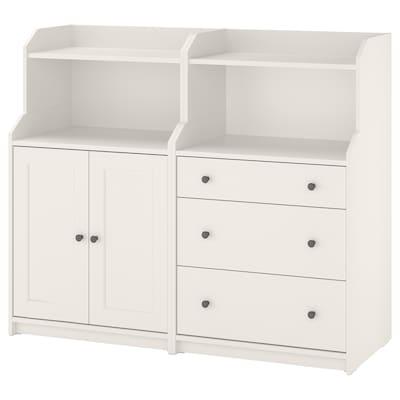HAUGA Combinación de armario y estantería, blanco, 139x46x116 cm