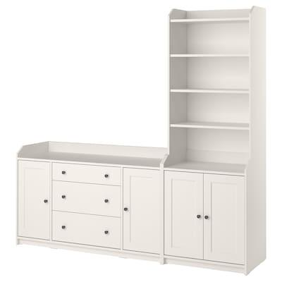 HAUGA Combinación de armario y estantería, blanco, 210x46x199 cm