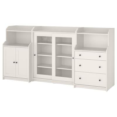 HAUGA Combinación de armario y estantería, blanco, 244x46x116 cm