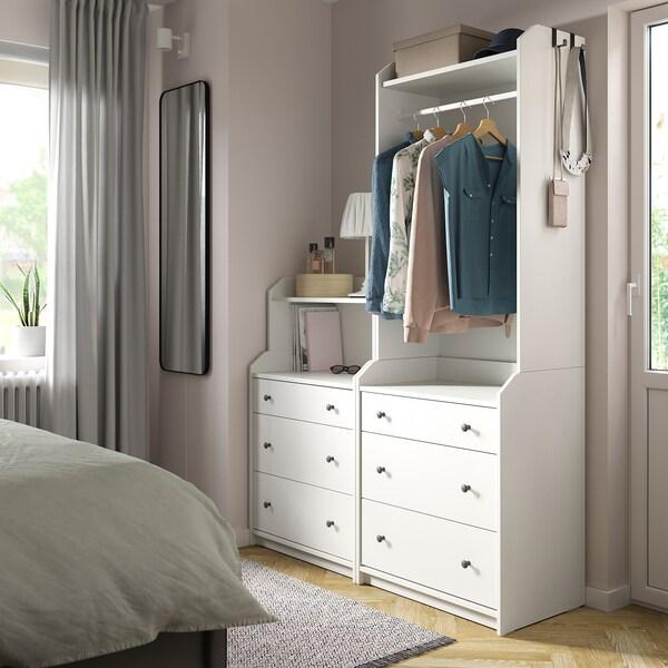 HAUGA Combinación de armario y estantería, blanco, 140x199 cm
