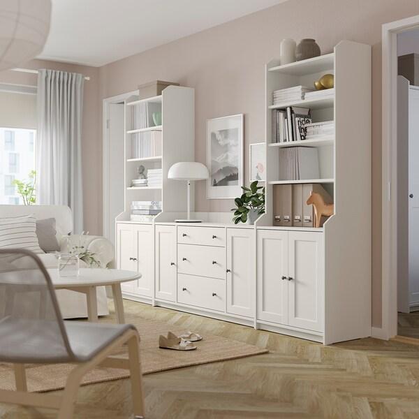 HAUGA Combinación de armario y estantería, blanco, 279x46x199 cm