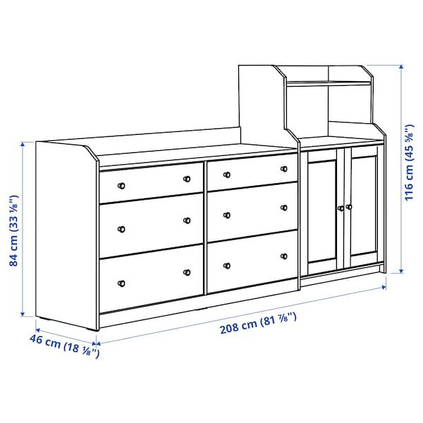 HAUGA Combinación de armario y estantería, blanco, 208x116 cm