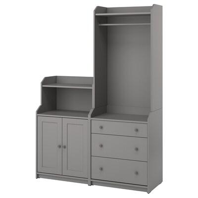 HAUGA Combinación de armario y estantería, gris, 139x46x199 cm