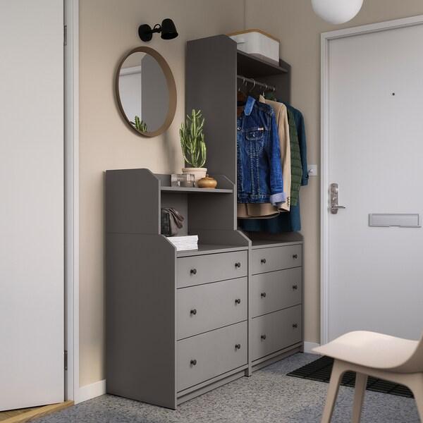 HAUGA Combinación de armario y estantería, gris, 140x199 cm