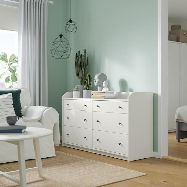 HAUGA Cómoda 6 cajones, blanco, 138x84 cm