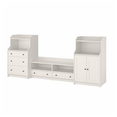 HAUGA Mueble almacenaje/TV, blanco, 277x46x116 cm