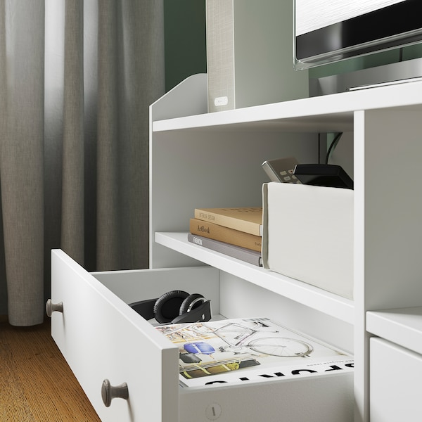HAUGA Mueble TV, blanco, 138x36x54 cm