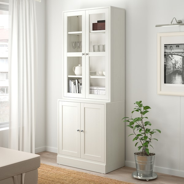 HAVSTA Combi almacenaje puertas vidrio, blanco, 81x47x212 cm