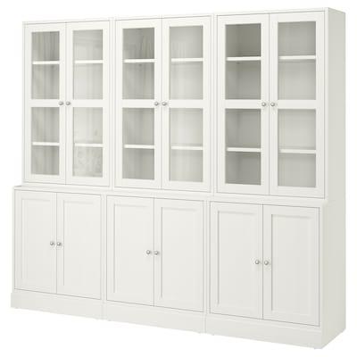 HAVSTA Combi almacenaje puertas vidrio, blanco, 243x47x212 cm