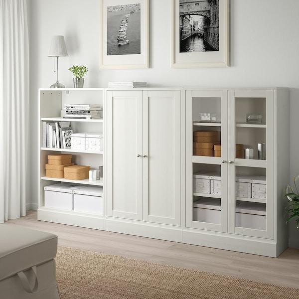 HAVSTA Combi almacenaje puertas vidrio, blanco, 243x37x134 cm
