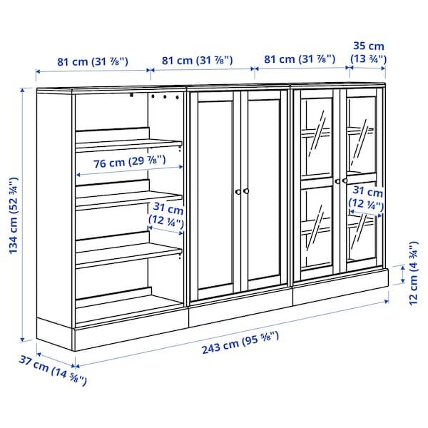 HAVSTA Combi almacenaje puertas vidrio, gris, 243x37x134 cm