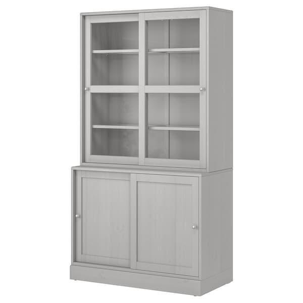 HAVSTA Combi armario puert corred vidrio, gris, 121x47x212 cm