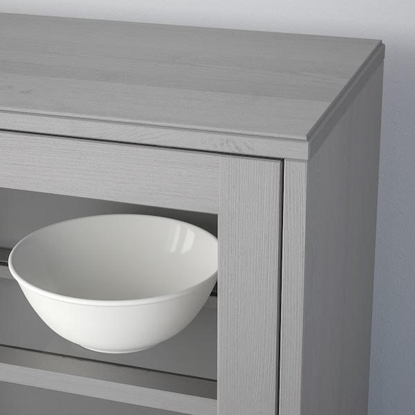 HAVSTA Combi armario puert corred vidrio, gris, 242x47x212 cm