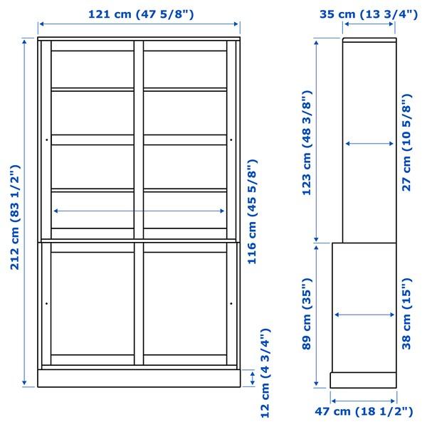 HAVSTA Combi armario puert corred vidrio, marrón oscuro, 121x47x212 cm