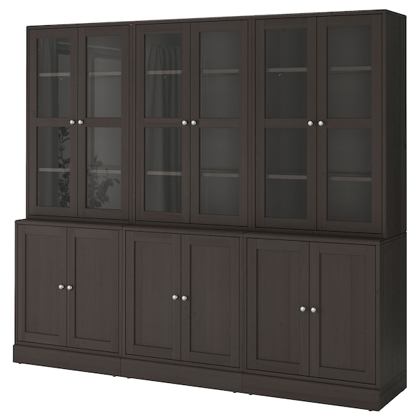 HAVSTA combi almacenaje puertas vidrio marrón oscuro 243 cm 47 cm 212 cm 23 kg