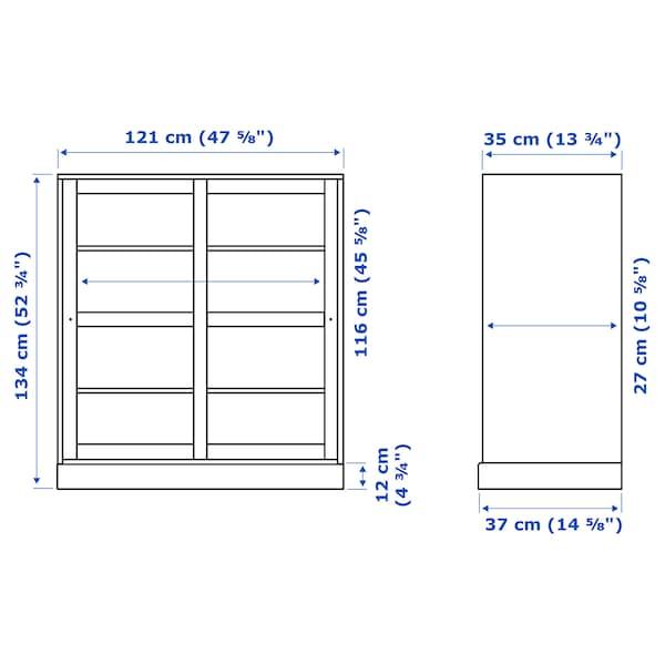 HAVSTA Vitrina con zócalo, vidrio transparente blanco, 121x37x134 cm