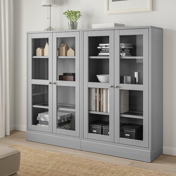 HAVSTA Vitrina, gris, 162x37x134 cm