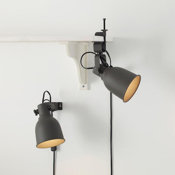 HEKTAR Foco de pared/con pinza, gris oscuro