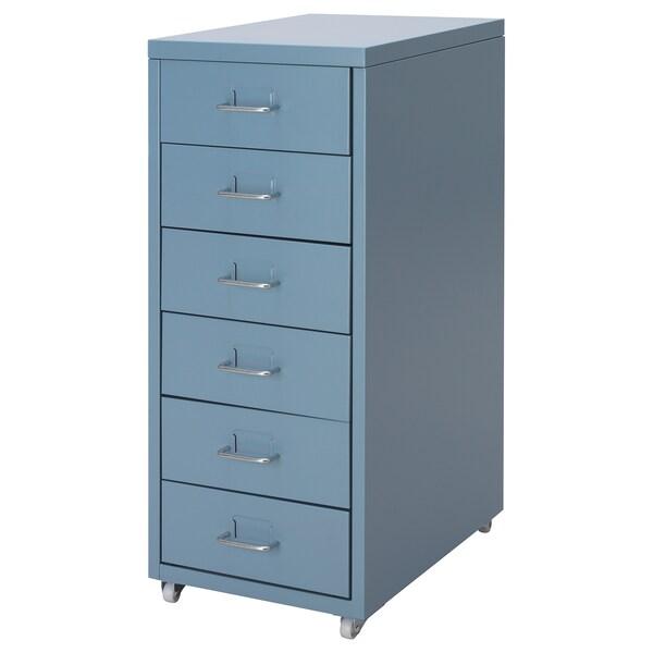 HELMER Cajonera con ruedas, azul, 28x69 cm