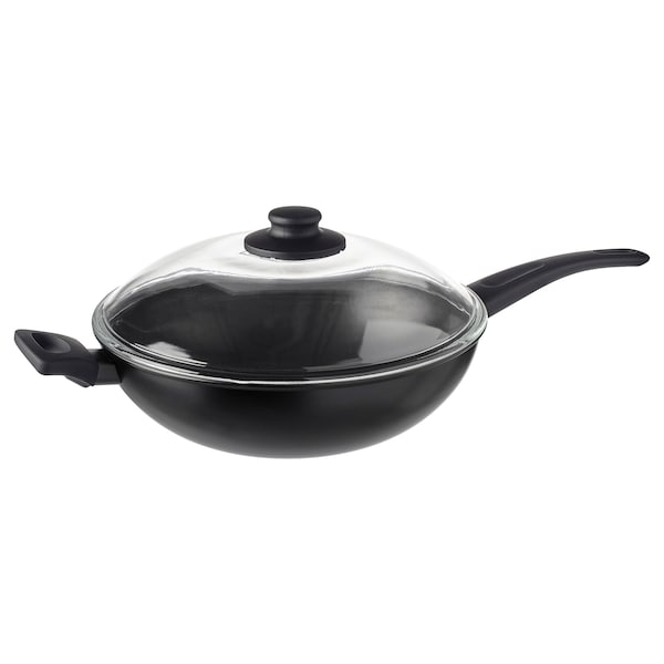 HEMLAGAD Wok con tapa, negro, 28 cm