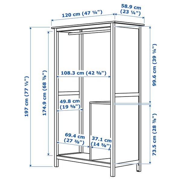 HEMNES Armario&2 puertas correderas, tinte blanco, 120x197 cm
