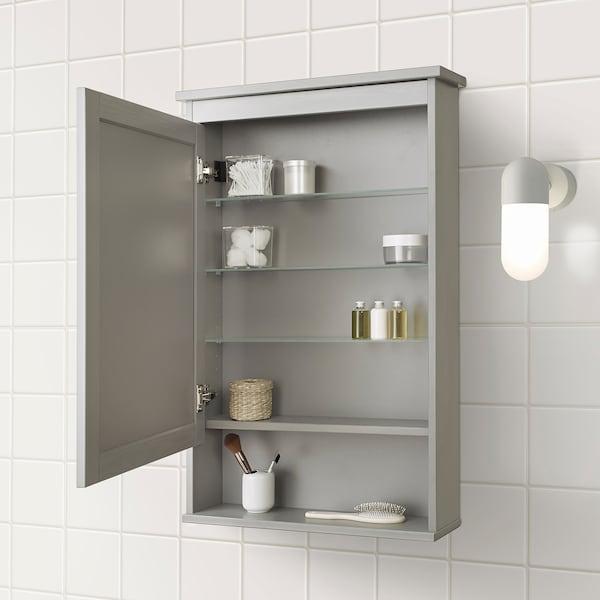HEMNES Armario con espejo, 1 puerta, gris, 63x16x98 cm