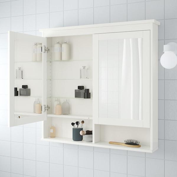 HEMNES Armario &espejo, 2 puertas, blanco, 103x16x98 cm