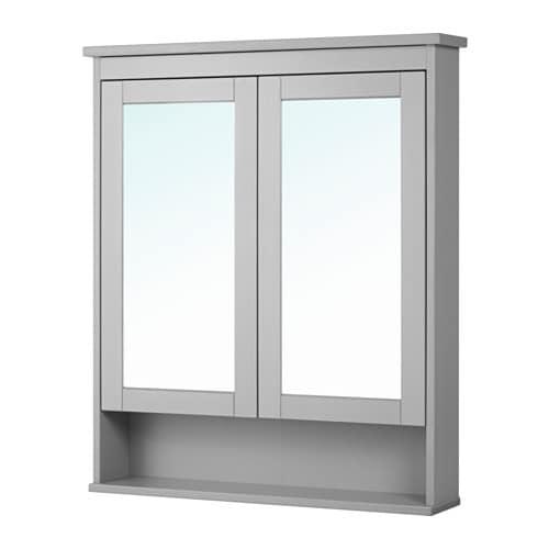 Hemnes armario espejo 2 puertas gris 83x16x98 cm ikea for Armario 2 puertas ikea