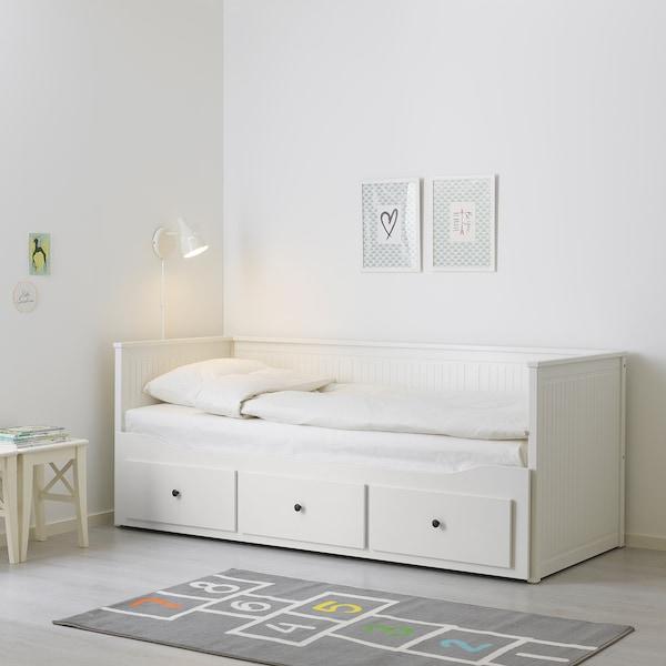 HEMNES Diván con 3 cajones y 2 colchones, blanco/Moshult firme, 80x200 cm