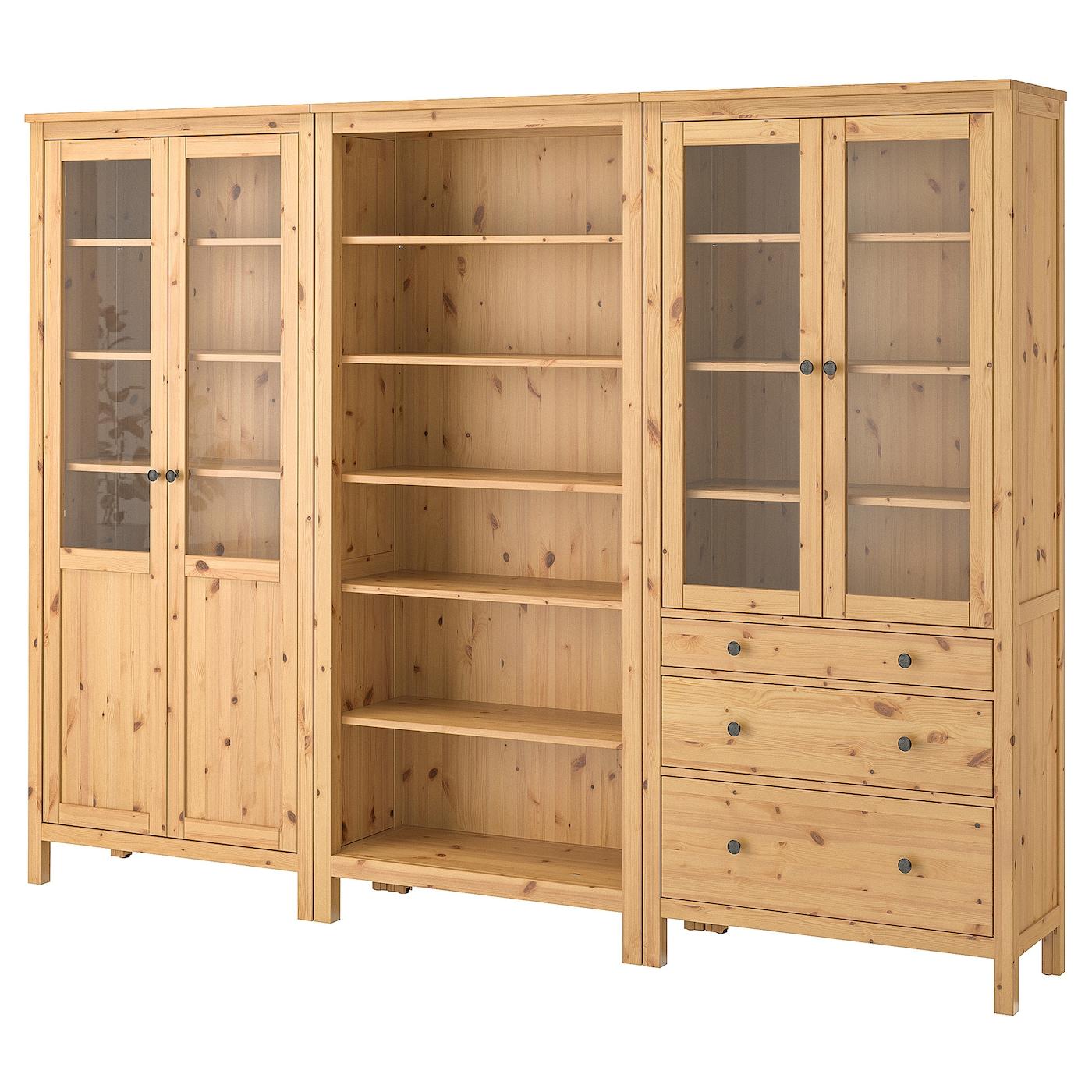 Hemnes mueble de sal n con almacenaje marr n claro vidrio 270 x 197 cm ikea - Muebles para almacenaje ...