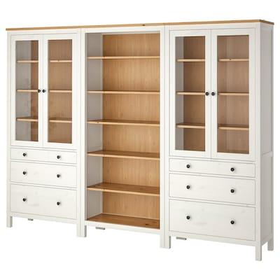HEMNES Mueble salón, tinte blanco/marrón claro, 270x197 cm