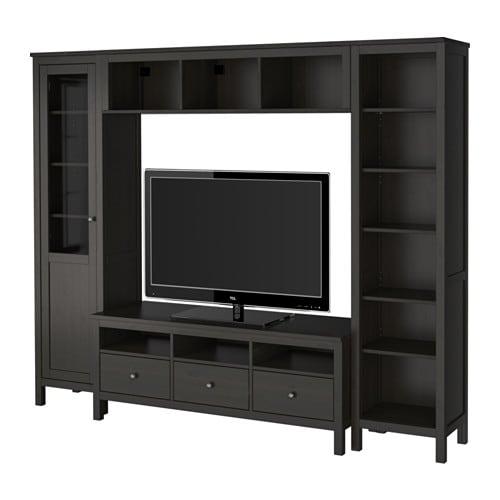Hemnes mueble tv combinaci n negro marr n ikea for Mueble tv ikea