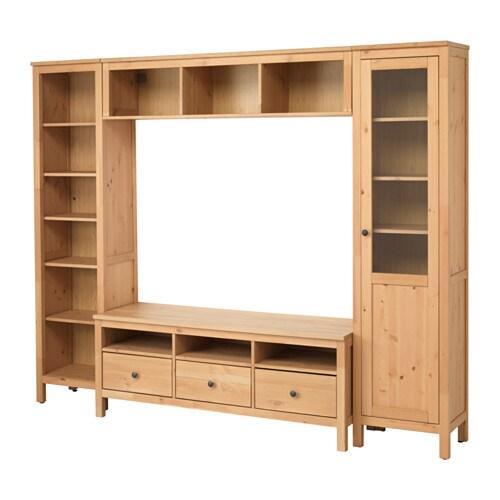 Hemnes mueble tv con almacenaje marr n claro 246x197 cm for Muebles almacenaje ikea
