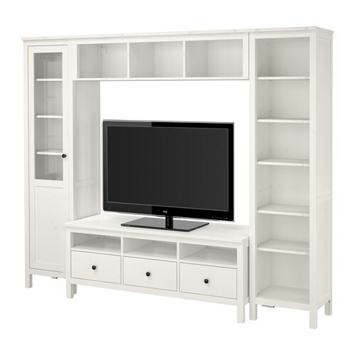 Hemnes mueble tv con almacenaje tinte blanco 246x197 cm for Meuble tv tres long