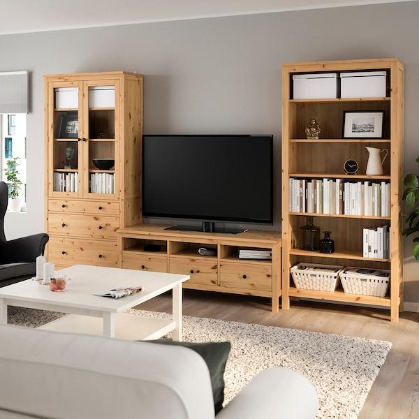 HEMNES Mueble TV, marrón claro/vidrio incoloro, 326x197 cm