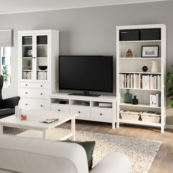 HEMNES Mueble TV, tinte blanco, vidrio incoloro, 326x197 cm