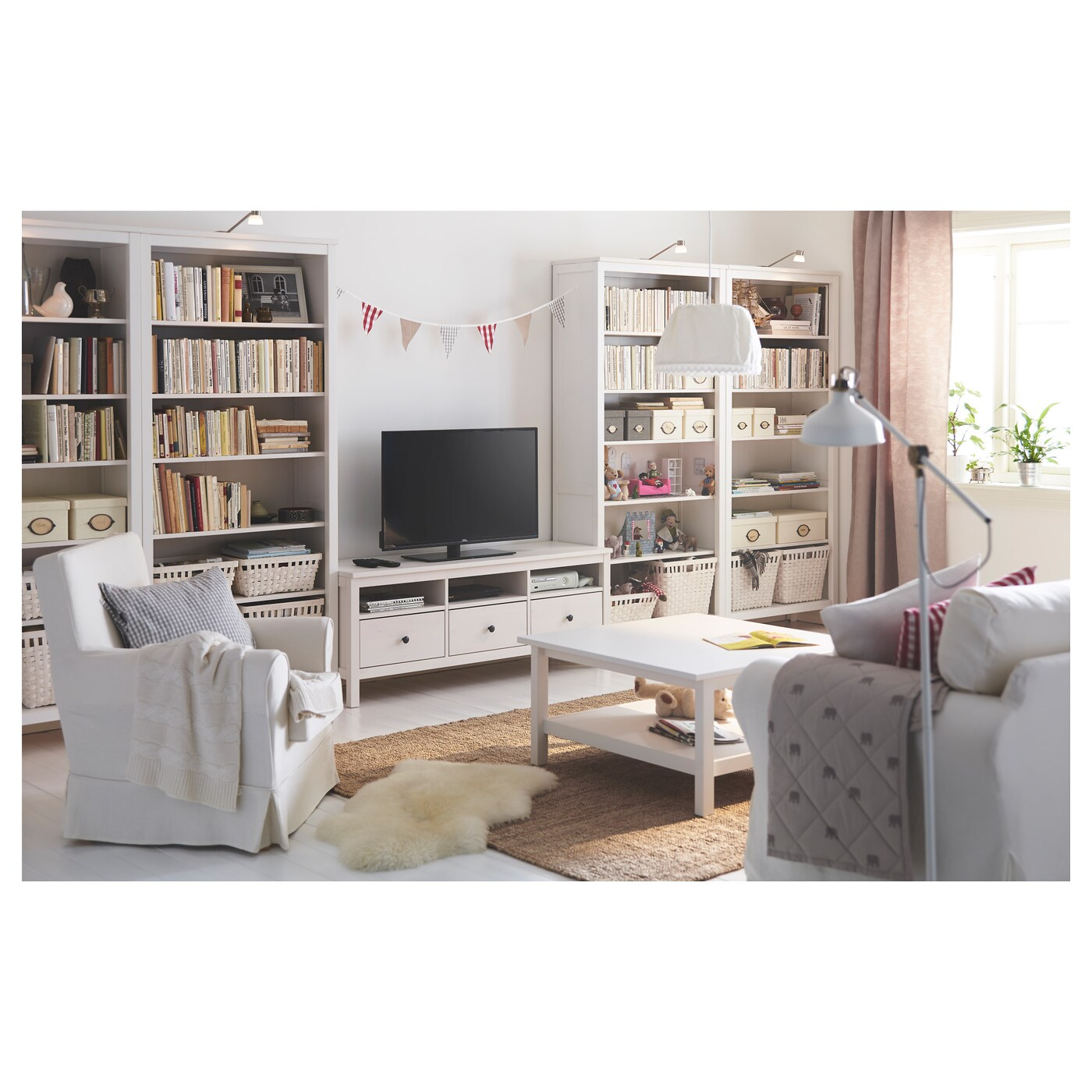Hemnes mueble tv tinte blanco 148 x 47 x 57 cm ikea for Mueble tv ikea