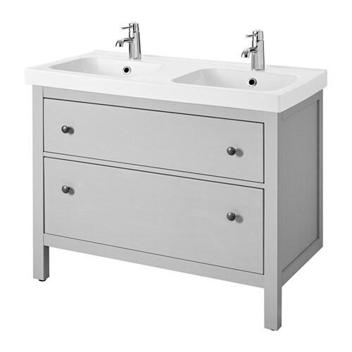 Hemnes odensvik armario lavabo 2 cajones gris ikea - Muebles lavabo ikea ...