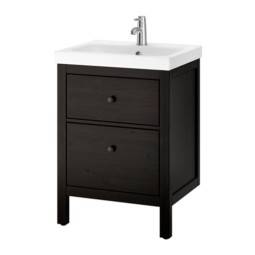 Hemnes odensvik armario lavabo 2 cajones tinte negro marr n ikea - Armario lavabo ikea ...