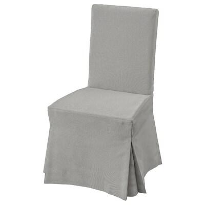 HENRIKSDAL Silla con funda larga, blanco/Orrsta gris claro
