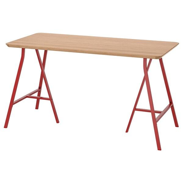HILVER / LERBERG mesa bambú/rojo 140 cm 65 cm