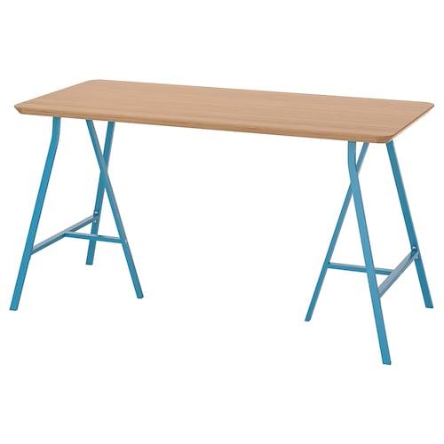 HILVER / LERBERG mesa bambú/azul 140 cm 65 cm