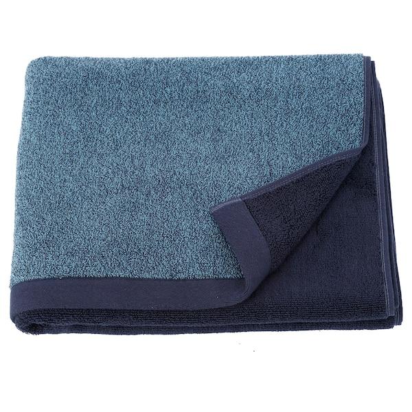 HIMLEÅN Toalla de baño, azul oscuro/mezcla, 70x140 cm