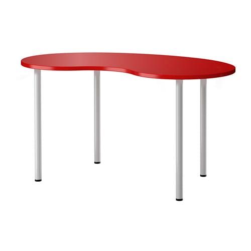 Hissmon adils mesa curvado rojo gris plata ikea - Table a dessin ikea ...