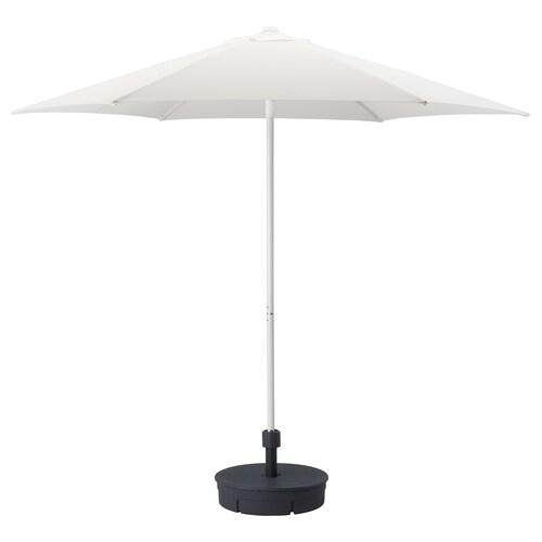 HÖGÖN sombrilla con soporte blanco/Grytö gris oscuro 170 g/m² 245 cm 270 cm 38 mm