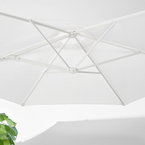 HÖGÖN Sombrilla colg+base, blanco/Svartö gris oscuro, 270 cm